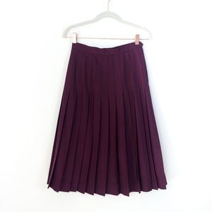 Vintage Plum Purple Pleated Midi Skirt